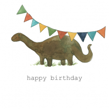Happy Birthday Dinosaur Watercolor painting
