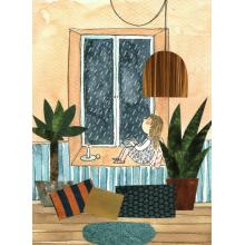 window girl rain reading cozy plants indoors