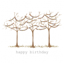 Happy Birthday Bare Trees Fairy Lights Watercolor painting