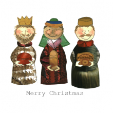 Christmas card, three kings, wise men, presents, Merry Christmas