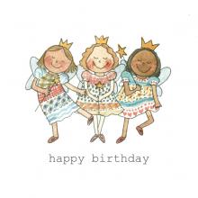 Happy Birthday 3 Happy Fairies Watercolor painting